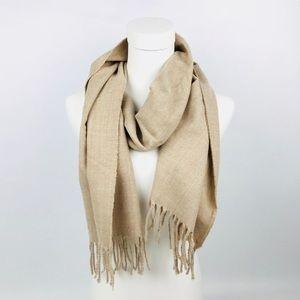 New Calvin Klein Womens scarf camel fringe beige